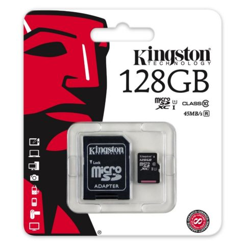 Kingston 128GB microSDHC Card – Class 10 (Life time warranty)