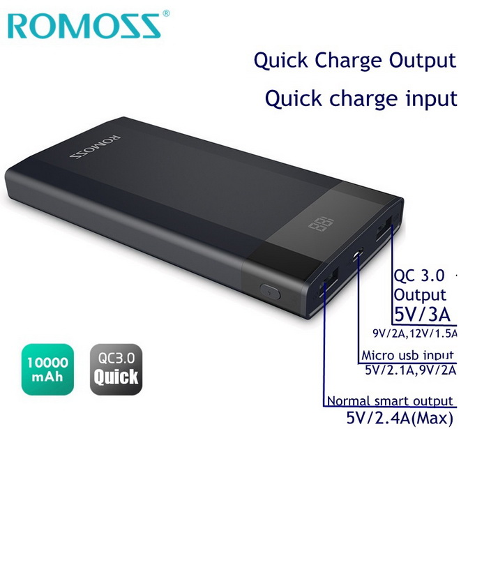 Romoss DP-10 Quick Charge 3.0 Power Bank - 10000mAh