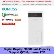 ROMOSS Sense 8P Plus 30000mAh QC Type-C Power Bank for Huawei Samsung Oppo Original