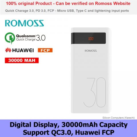 ROMOSS Sense 8P Plus 30000mAh QC Type-C Power Bank for Huawei Samsung Oppo Original