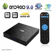 Android TV Box T9 Android 9.0 TV Box 4GB RAM 64GB ROM Bluetooth 4.2 Support 2.4G&5.0GHz WiFi 4K Set Top Box Smart TV